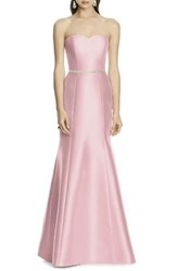Alfred Sung Women's Strapless Sateen Trumpet Gown
