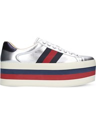 Gucci New Ace Wedge Metallic Leather Trainers Silver