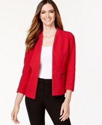 Alfani Petite Textured Zip Pocket Blazer Only At Macy's New Red Amore