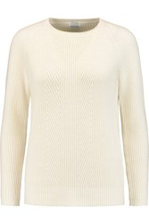Madeleine Thompson Ribbed Knit Wool And Cashmere Blend Sweater Cream