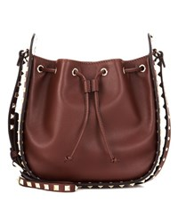 Valentino Rockstud Leather Bucket Bag Brown