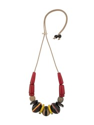 Marni Beaded Pendant Necklace Red