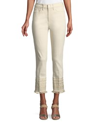 Tory Burch Lana Pompom Embroidered Cuff Ankle Jeans Heavy Enzyme