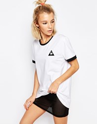 Le Coq Sportif White Oversized Boyfriend Ringer T Shirt Optical White