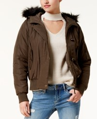 American Rag Juniors' Faux Fur Trim Bomber Jacket Created For Macy's Olive