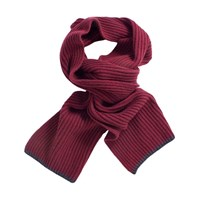 40 Colori Wine Ribbed Wool And Cashmere Scarf Red