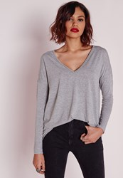 Missguided Long Sleeve Boyfriend V Neck T Shirt Grey Marl Grey