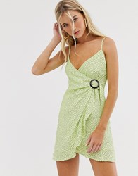 Bershka Polka Dot Wrap Mini Dress In Green
