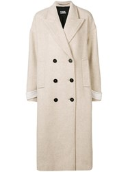Karl Lagerfeld Textured Double Breasted Coat Nude And Neutrals