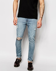 Cheap Monday Jeans Tight Skinny Fit Posted Worn Blue Distressed Postedwornblue