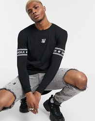Sik Silk Siksilk Muscle Fit Long Sleeve Top With Logo Black