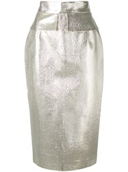 Daizy Shely Metallic Pencil Skirt Women Cotton Polyamide Polyester Metal 42 Nude Neutrals