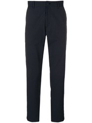 Theory Striped Tailored Trousers Blue