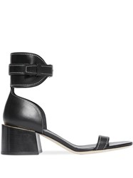 Burberry Gold Plated Detail Leather Block Heel Sandals Black