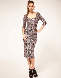Asos Midi Body Conscious Dress In Vintage Animal Print Print