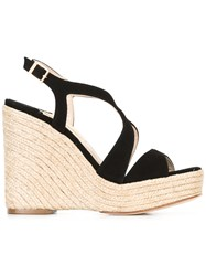 Paloma Barcelo Contrast Braided Trim Sandals Black