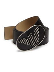 Emporio Armani Textured Leather Belt Black