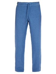 120 Lino Mid Rise Linen Trousers Dark Blue