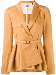 Jil Sander Navy Belted Peplum Blazer Yellow Orange