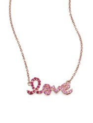 Sydney Evan Pink Sapphire Ruby And 14K Rose Gold Small Ombre Love Necklace Pink Rose Gold