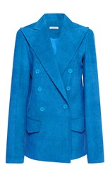 Nina Ricci Double Breasted Corduroy Blazer Blue