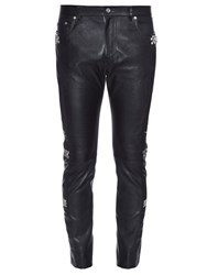 Saint Laurent Studded Patchwork Leather Trousers