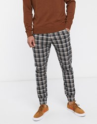 Another Influence Tapered Drawstring Trousers In Check Brown