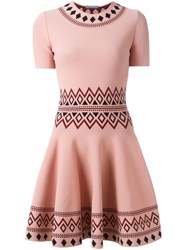 Alexander Mcqueen Patterned A Line Dress Pink And Purple