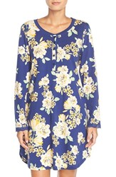 Women's Carole Hochman Designs Print Cotton Sleep Shirt Navy Floral
