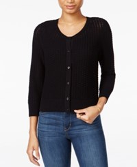 Maison Jules Honeycomb Stitch Cardigan Only At Macy's Deep Black
