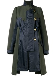 Sacai Contrast Panel Coat Green