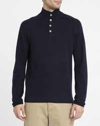 Hartford Navy Wool And Cashmere Zip Neck Sweater Blue