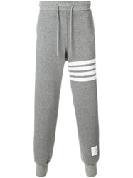 Thom Browne Engineered 4 Bar Stripe Cashmere Shell Sweatpants Grey