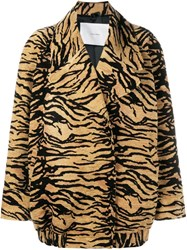 Adam By Adam Lippes Tiger Print Jacket Brown
