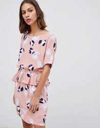 Minimum Floral Peplum Hem Mini Dress Dusty Pink Multi