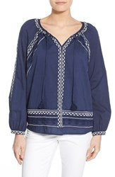 Women's Lucky Brand Embroidered Split Neck Peasant Blouse American Navy