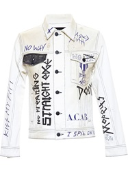 Filles A Papa Denim Jacket With Graffiti Print White