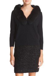 Milly Women's Merino Wool Cardigan With Removable Genuine Fox Fur Collar