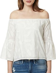 Buffalo David Bitton Embroidered Off The Shoulder Top White