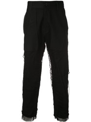 Ann Demeulemeester Mesh Overlay Cropped Trousers Black