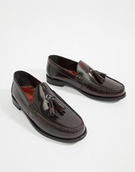 Base London Chime Tassel Loafers In High Shine Bordo Red