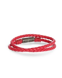 Diesel Red Alucy Leather Bracelet With Silver Double Link Clasp