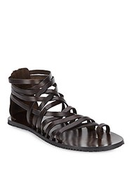 Massimo Matteo Leather Gladiator Sandals Brown