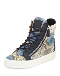 Giuseppe Zanotti Men's Embossed Snake Print High Top Sneaker Blue Multi