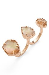 Women's Kendra Scott 'Naomi' Double Finger Ring Brown Mop Rose Gold