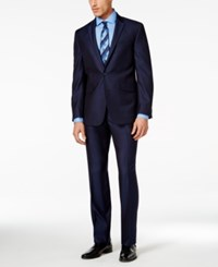 Kenneth Cole Reaction Navy Pindot Slim Fit Suit Blue