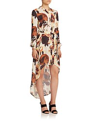 Haute Hippie Floral Silk Hi Lo Shirtdress Desert Rose