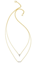 Kacey K Triangle And Bar Necklace Gold Clear
