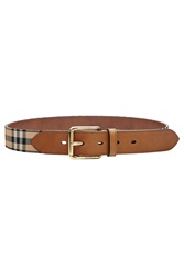 Burberry Shoes And Accessories Leather Belt With Checked Fabric Multicolor