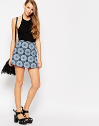 Motel Aline Mini Skirt In Mandala Print Multi